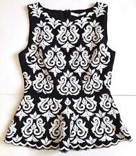 Boston Proper Brocade Embroidery Embellished Peplum Top White Black Size 2 NWT