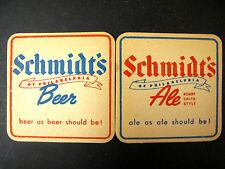 RARE Old Vintage Bar Coaster SCHMIDT'S Beer ALE Robert Smith Style PHILADELPHIA