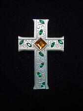 "& Amber Jeweled Cross Pin ""Jj"" Jonette Jewelry Silver Pewter Green"