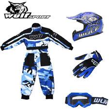 Wulf Cub Childrens Flite Motorcross Helmet Straos Gloves Goggles Camo Suit Blue
