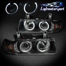 [Dual LED Halo] 1992-1998 Bmw E36 3-Series Sedan Projector Black Headlights Pair