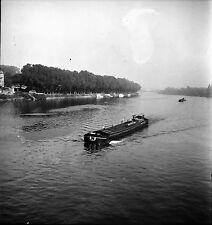 SAINT-CLOUD c. 1950 - Péniche sur la Seine - Négatif 6 x 6 - N6 IDF63
