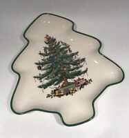 Vintage Spode Christmas Tree Platter Tray Tree Shaped Green Rim- England S3324-K
