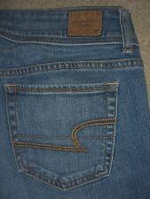 AMERICAN EAGLE Skinny Double Button Stretch Blue Denim Jeans Women Size 6 x 29.5