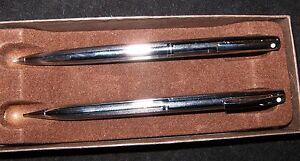 NOS Vintage SHEAFFER Pen & Pencil Set Silver Chrome Tone ~ 1970's