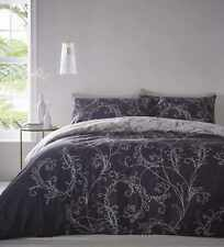 Cressida King Size Duvet Cover Pillowcases Navy Blue Floral Scroll Reversible