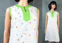 Vintage 70s Sun Dress S M Sleeveless White Green Pink Yellow Rainbow Polka Dot