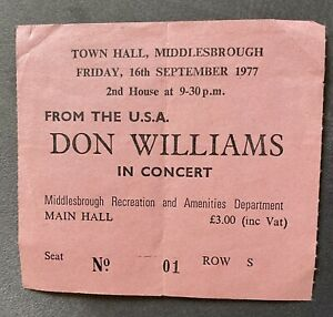 Don Williams Concert Ticket 1977 Middlesbrough Town Hall