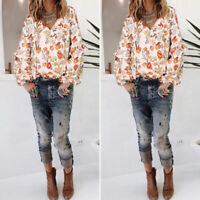 Mode Femme Imprimé Floral Loisir Ample Manche Longue Col V Haut Shirt Tops Plus