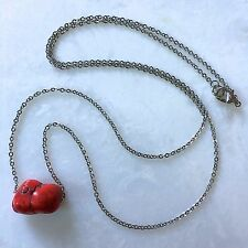 """Red Howlite Necklace Nugget-Shaped Stone Pendant-22"""" Stainless Steel Chain"""
