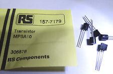 Confezione da 10 MPSA 10 transistor in Silicio Npn TO92 RS 517-7197 MPS-A10