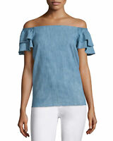 Alice + Olivia Blue Chambray Loryn Off The Shoulder Top SZ M