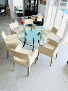 🐋HIgh End Mid Century Modern SleeK wOOd frame glass Dining TabLe ONLY