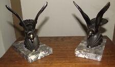 SERRE LIVRES ART DECO socle marbre deco oiseau bronze ou laiton signee H.L