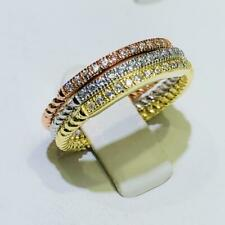 3 Tri Gold Sterling Silver Pave White Sapphire 2mm Cable Eternity Band Rings Sz6
