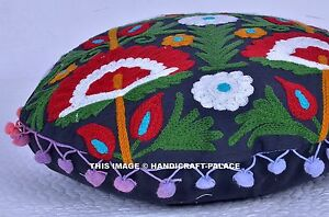 """16"""" ROUND SUZANI EMBROIDERED FLOOR PILLOW CUSHION THROW Cover Seating Indian"""