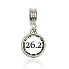 Italian European Style Bracelet Charm Bead 26.2 marathon running jogging