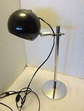 "Atomic Mid Century Eyeball SPACE AGE Table Lamp chrome & black adjustable 18"" H"