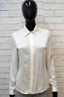 LUISA SPAGNOLI Donna Camicia Camicetta Taglia M Slim Maglia T-Shirt Seta Bianco