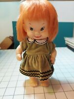 """Vintage Moody Cutie Little Brat Doll, Red Hair Japan 8"""" tall Original Clothes"""