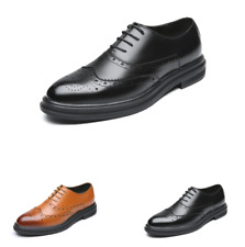 Brogue Mens Business Leather Shoes Work Pointy Toe Wing Tip Party Wedding Casual