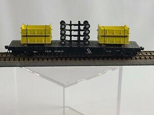 HO Scale Chesapeake & Ohio 50' Flatcar With Truck Bed & Frame Cargo Rd # 216614