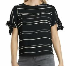 Vince Camuto Womens Blouse Black Size Small S Stripe Tie-Sleeve Knit Top $49 451