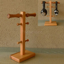 Wooden Headphone Double Stand Headset Holder Earphone Hanger Desk Display Rack