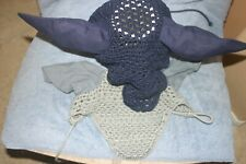 Horse Ear crochet bonnet Blue/Grey (Auction is for 2)