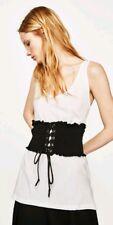 2017 Women's Zara White Black Sleeveless T-Shirt Top With Corset S BNWT