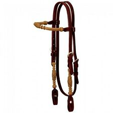 Royal King Heavy Rolled Rawhide Brow Band Brown Latigo Headstall Horse Tack