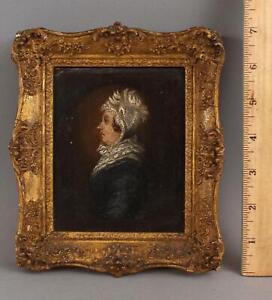 19thC Antique Miniature Portrait Oil Painting Original Gilt Frame NO RESERVE