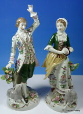 More details for sitzendorf porcelain dresden pair of figures gallant shepherd & shepherdess