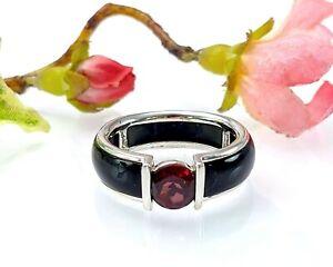 Sterling Silver Black Onyx & Garnet Ring, Size T