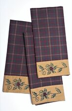 Set of 3 TRADITIONS Embroidered Holly Christmas Season Cotton Towels