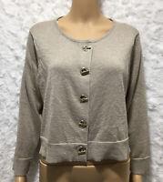 Women's Calvin Klein lightweight sweater size XL gold metallic crew neck, button