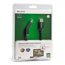 Belkin 2m Cable HDMI Macho/Macho Doble Giratorio Con Eternet chapado en oro -