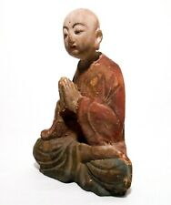 RARE EARLY-MID 19TH C ASIAN ANTIQUE HAND CARVED/PAINTED BUDDHIST MONK MEDITATING