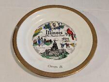 """Vintage 7.5"""" Illinois Usa Collectible Souvenir Travel Plate! The Prairie State!"""