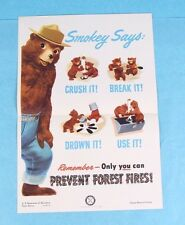 ORIGINAL VINTAGE 1950 SMOKEY THE BEAR USFS FOREST FIRE PREVENTION POSTER *MINT*