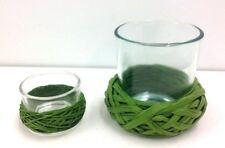 "Votive & Tea-Lite Candle Holders~Set of 2~Green Raffia Braid Trim~1 1/2"" & 3"" T"