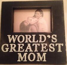 """World's Greatest Mom"" Distressed Photo Frame, Black w/Chevron Sides"