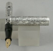 Waterman's 452 1/2V Sterling Silver Engraved Vine Pattern Fountain Pen - 1920's