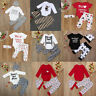 Toddler Baby Newborn Boys Girls Romper+Pants+Hat Outfit 3Pcs Set Outfits Clothes