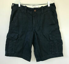 Abercrombie and Fitch Cargo Khaki Shorts sz 31 Navy Blue Twill Classic Fit Mens