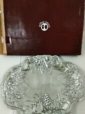 """Arthur Court Savannah Serving Tray USED Oval Silver Color Grape leaves 19 x14.5"""""""