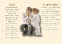 DAD & STEPMOTHER  GIFT- personalised (Laminated poem)