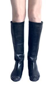 CHANEL Black   Knee  Boots Metal Cap Toe CC Logo Size 37.5