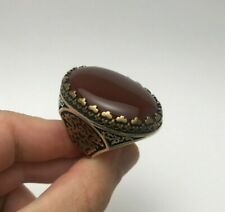 Cool Jewelry Special Massive Orange Agate 925K Sterling Silver Men's Ring