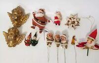 Vintage Christmas Ornament Figures Elf Cherub Angel Flocked Santa Pick Stick Lot